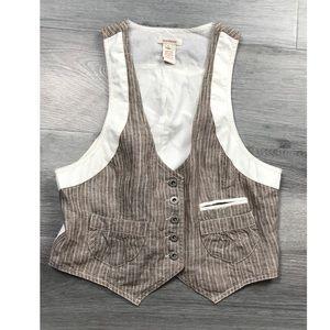 Sundance western vest top button down striped 6